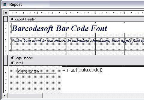 code à barres deux parmi cinq entrelacé access macro