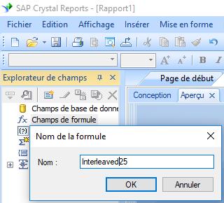 deux parmi cinq entrelacé code barres create formule crystal reports