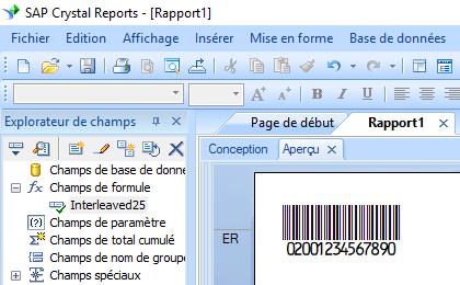 deux parmi cinq entrelacé code barres crystal reports