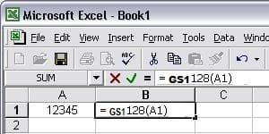 code-à-barres gs1128 excel macro