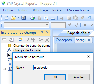 MaxiCode create formule crystal reports