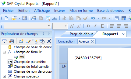 msi code barres crystal reports UFL
