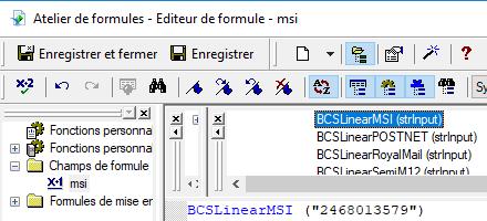 msi code barres crystal reports UFL