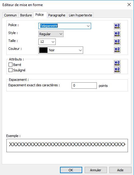 telepen code barres font crystal reports
