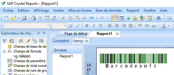 telepen code barres crystal reports