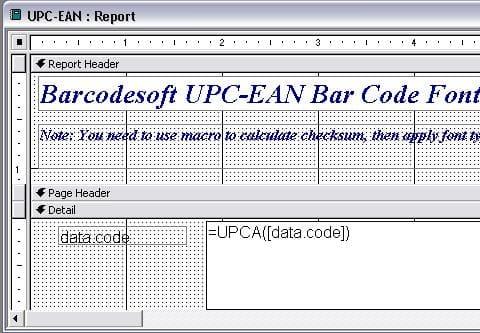 code à barres upca access macro