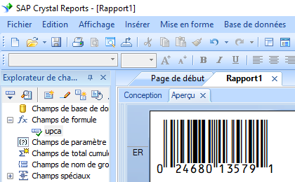 upca code barres crystal reports