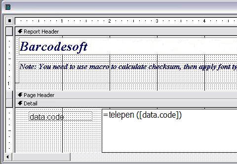 Telepen バーコード access マクロ