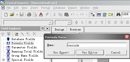 maxicode barcode crystal reports create formula