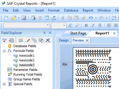 maxicode barcode crystal reports