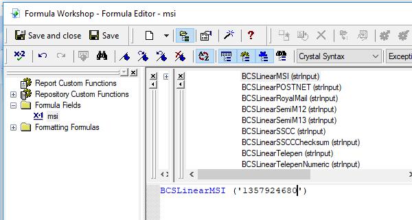 MSI barcode crystal reports UFL