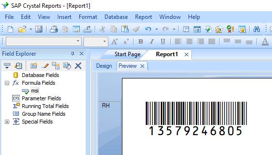 MSI barcode crystal reports