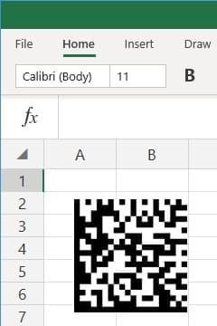 office 365 excel insert Data Matrix barcode