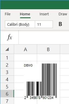 office 365 excel insert EAN13 barcode