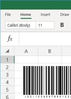 office 365 excel insert GS1128 barcode