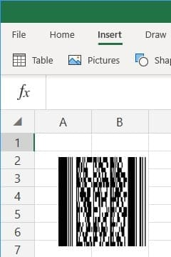 office 365 excel insert PDF417 barcode