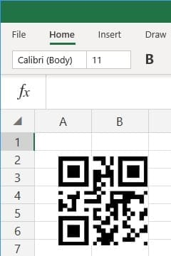 office 365 excel insert QRCode barcode
