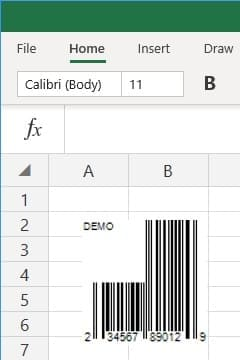 office 365 excel insert UPC-A barcode