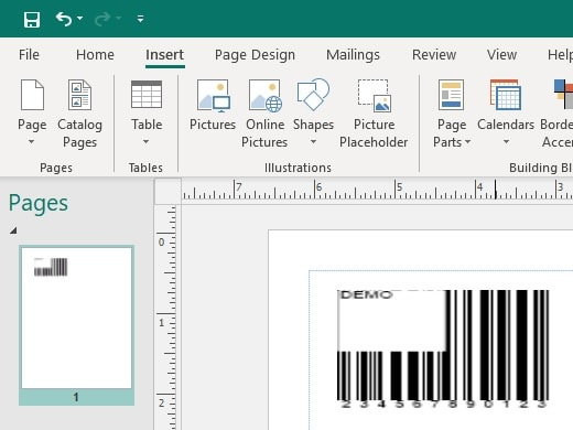 code 39 barcode in office 365 publisher