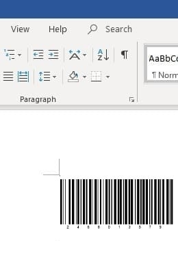 Code 128 barcode in office 365 Word