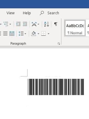 code 39 barcode in office 365 Word