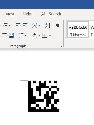 Data Matrix barcode in office 365 Word