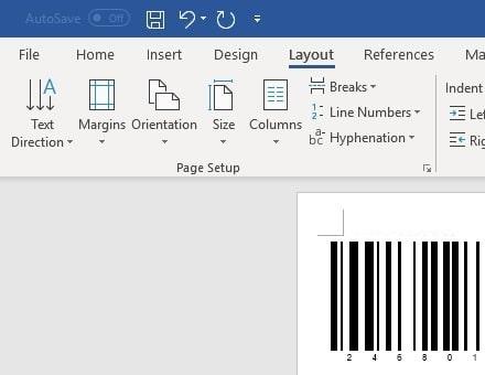 code128 barcode insert office 365 Word