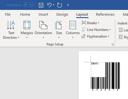 code39 barcode insert office 365 Word