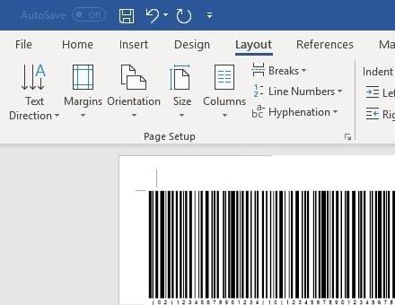 GS1128 barcode insert office 365 Word