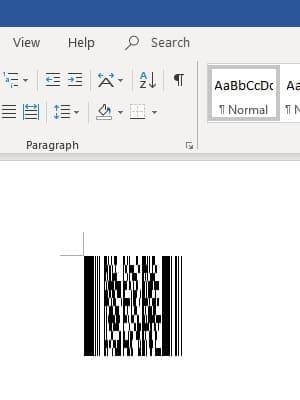 PDF417 barcode in office 365 Word