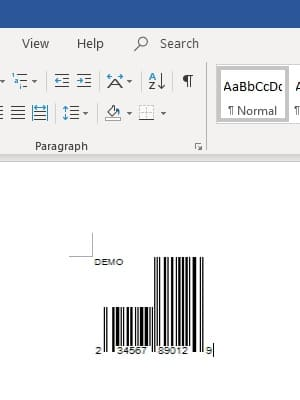 UPC-A barcode in office 365 Word