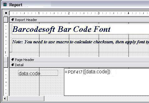 pdf417 barcode Access macro