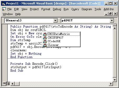 PDF417 barcode Visual Basic type information