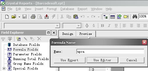 upca create formula crystal reports