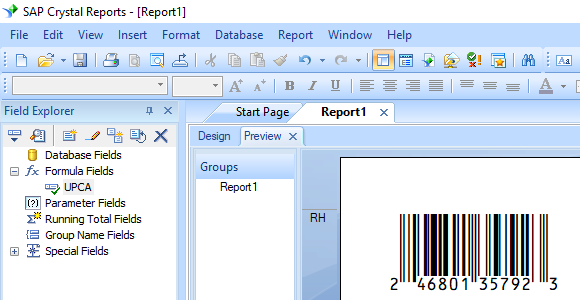 upca barcode crystal reports