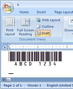 code39 barcode in MS Word