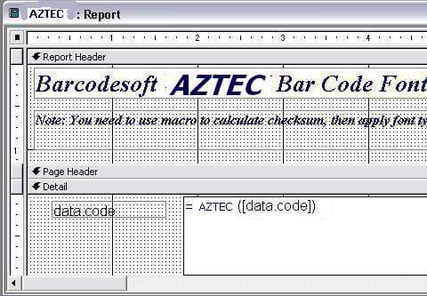 Aztec Code  access 宏