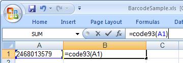 code93 条码 Excel 宏