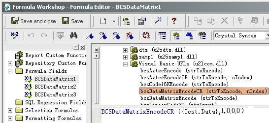 data matrix 水晶报表 公式 字段