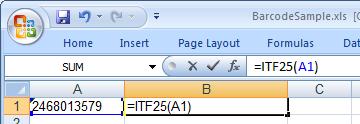 Interleaved 2 of 5 条码 Excel 宏
