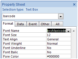 MaxiCode access 字體