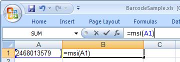 msi 条码 Excel 宏