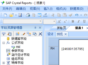 msi 条码 水晶报表 公式 字段