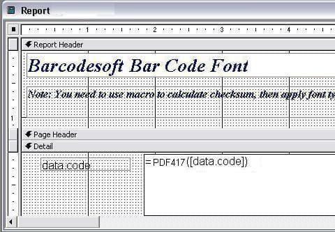 PDF417  access 宏